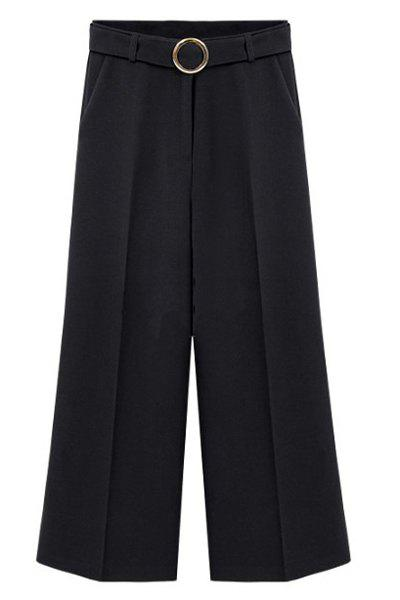 Stylish Zipper Fly Solid Color Paggy Women's Pants - BLACK 4XL