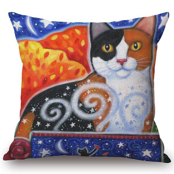 Chic Quality Colorful Stars and Cats Pattern Cotton and Linen Pillow Case(Without Pillow Inner)