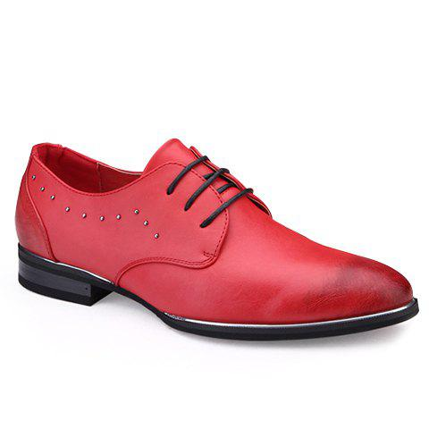 Fashionable Metal and PU Leather Design Men's Formal Shoes - RED 40