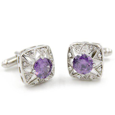 Pair of Chic Artificial Gem Rhinestones Decorated Square Cufflinks For Men - PURPLE