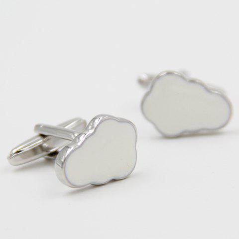 Pair of Chic White Cloud Shape Cufflinks For Men - WHITE