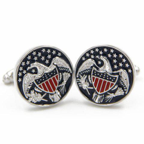 Pair of Trendy US Congress Symbol Eagle Pattern Cufflinks For Men - COLORMIX