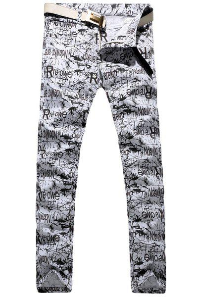 Casual Letter Printing Zip Fly Straight Legs Denim Pants For Men thumbnail