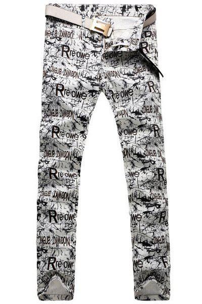 Casual Letter Printing Zip Fly Straight Legs Denim Pants For Men - OFF WHITE 32