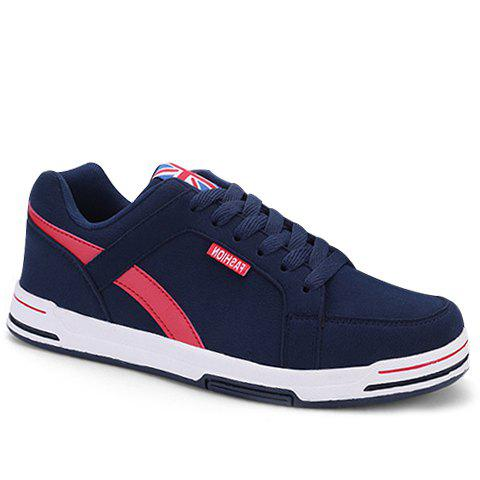 Stylish Lace-Up and Colour Matching Design Men's Casual Shoes - BLUE 44