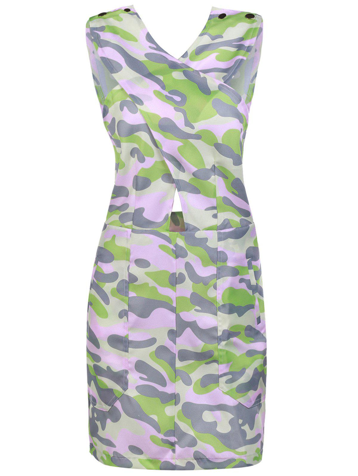 Stylish Buttons Embellished Pink Camo Bodycon Dress For Women