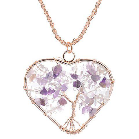 Heart Life Tree Necklace - PURPLE
