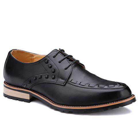 Trendy Solid Colour and Rivets Design Men's Formal Shoes - BLACK 40