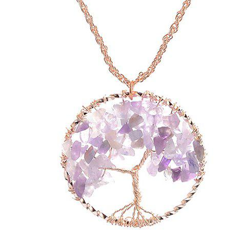 Round Life Tree Natural Stone Pendant Necklace - PURPLE