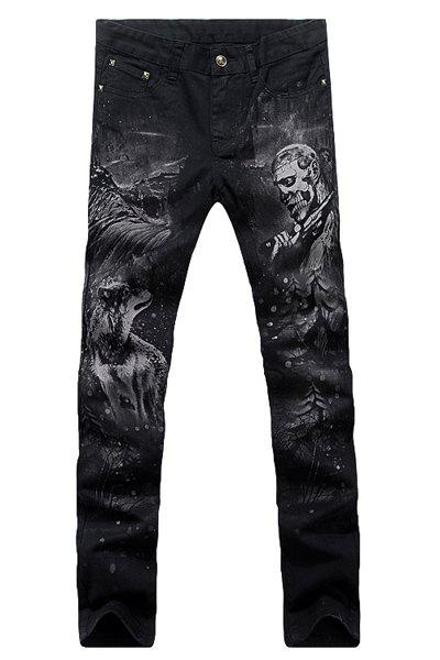 Casual Animal Printing Zip Fly Straight Legs Denim Pants For Men - BLACK 31