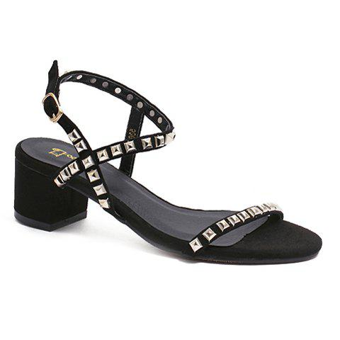 Stylish Chunky Heel and Flock Design Women's Sandals - BLACK 39