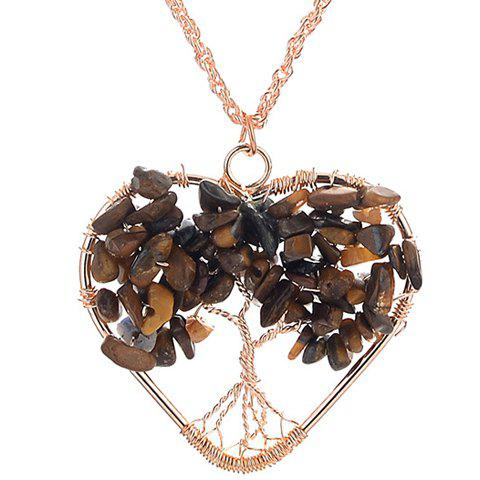 Hollow Out Life Tree Heart Necklace - GOLDEN
