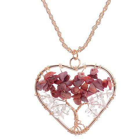 Heart Life Tree Pendant Necklace - GOLDEN
