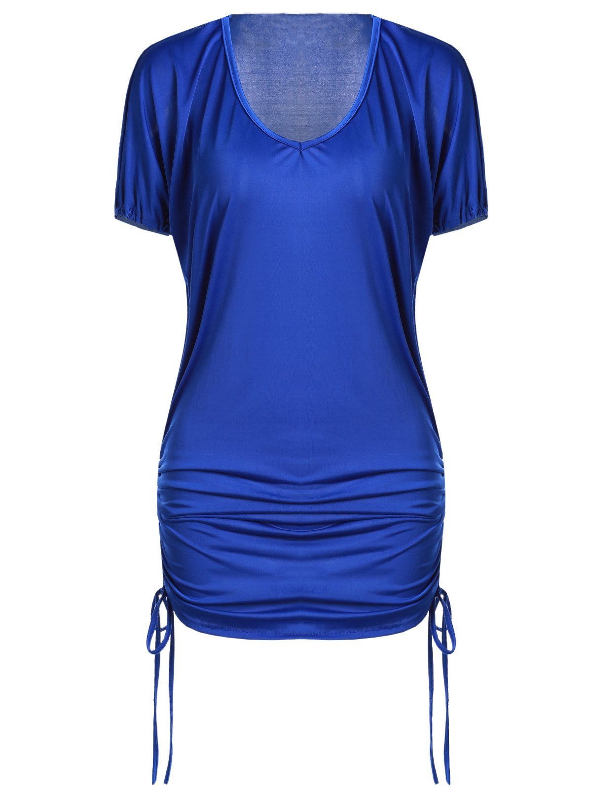 Stylish Plunging Neck Short Sleeve Solid Color Side Scrunch Women's Dress - PURPLISH BLUE S