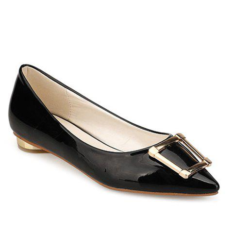 Stylish Patent Leather and Metal Design Women's Flat Shoes - BLACK 38
