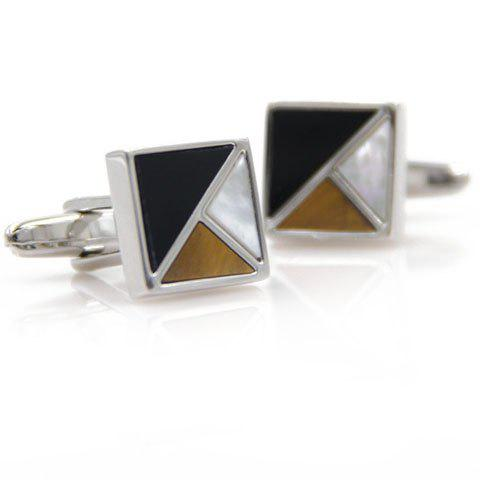 Pair of Chic Color Block Shell Decorated Square Cufflinks For Men - COLORMIX
