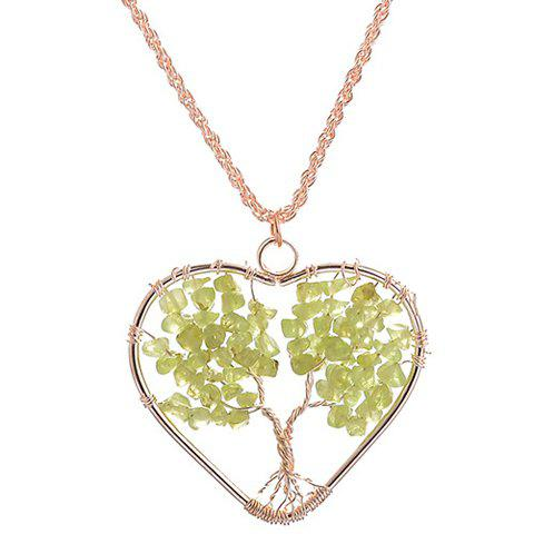 Life Tree Heart Woven Necklace - GOLDEN