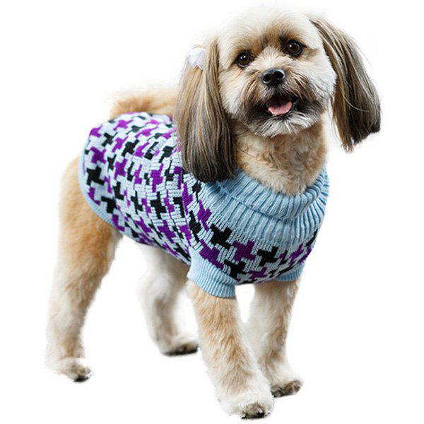 Stylish Pet Supplies Houndstooth Pattern Color Matching Sweater Puppy Clothing - AZURE XS