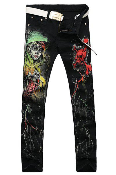 Casual Skull Printing Zip Fly Straight Legs Denim Pants For Men - BLACK 30