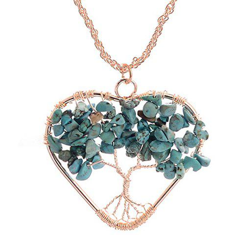 Hollow Out Life Tree Heart Pendant Necklace - GOLDEN