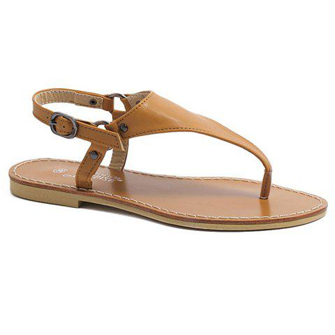 Casual Solid Color and Flat Heel Design Women's Sandals - BROWN 35