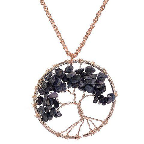 Life Tree Hollow Out Round Pendant Necklace - GOLDEN