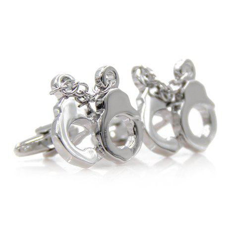 Pair of Chic Handcuffs Shape Silver Alloy Cufflinks For Men