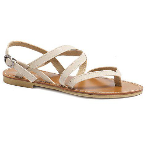 Casual Cross-Strap and Flat Heel Design Women's Sandals - WHITE 38