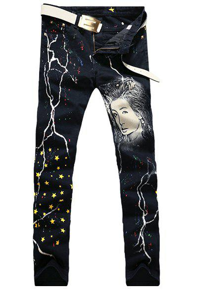 Casual Portrait Printing Zip Fly Denim Pants For Men - BLACK 29
