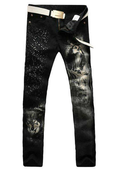 Men's Casual Portrait Printing Zip Fly Denim Pants - BLACK 31