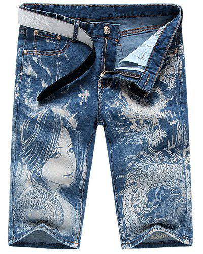 Casual Men's Zip Fly Dragon Lady Printing Denim Shorts - LIGHT BLUE 31