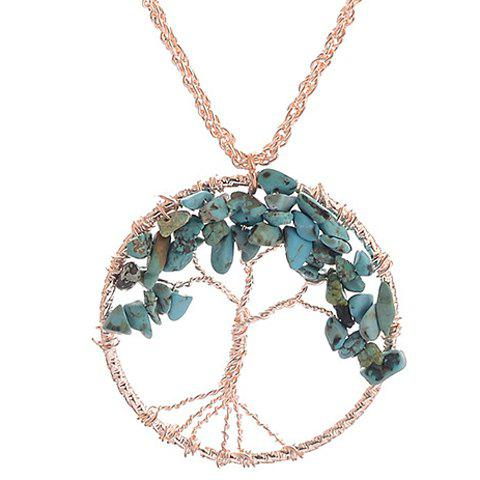 Life Tree Faux Turquoise Pendant Necklace - BLACKISH GREEN