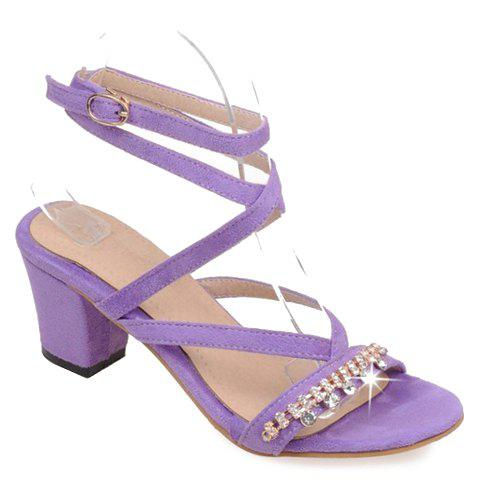 Stylish Solid Color and Rhinestones Design Womens Sandals LIGHT PURPLE 36