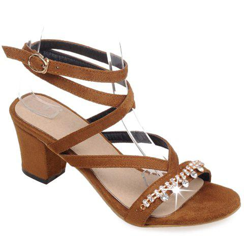 Stylish Solid Color and Rhinestones Design Women's Sandals