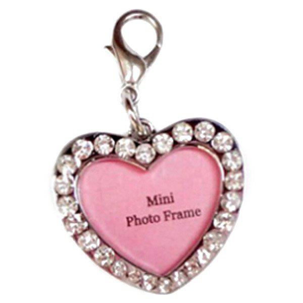 Chic Quality Rhinestone Decor Peach Heart Type Dog ID Tag Photo Frame - SILVER M