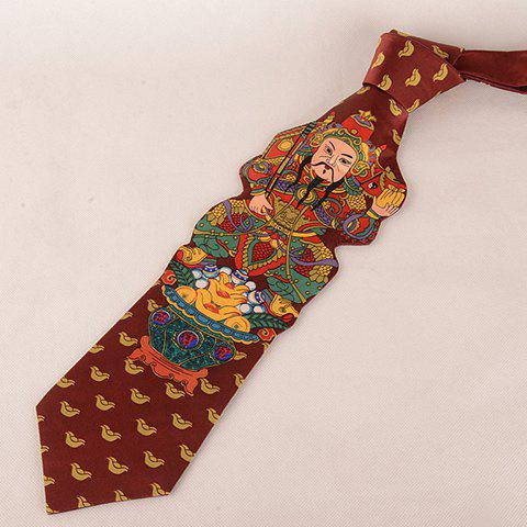 Stylish Chinese Ancient God Pattern Wacky Tie For Men