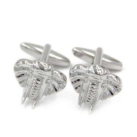 Pair of Chic Emboss Elephant Head Shape Silver Cufflinks For Men - SILVER