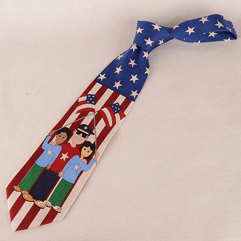 Stylish People and American Flag Pattern 10CM Width Men's Wacky Tie - CADETBLUE