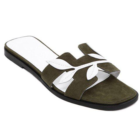 Casual Leaf and Suede Design Women's Slippers - ARMY GREEN 38