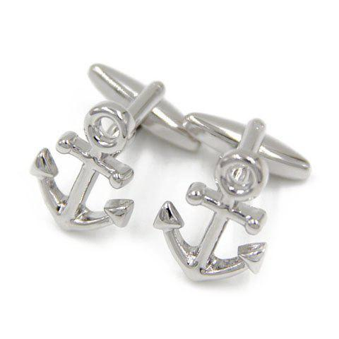 Pair of Chic Boat Anchor Hollow Out Shape Cufflinks For Men - SILVER