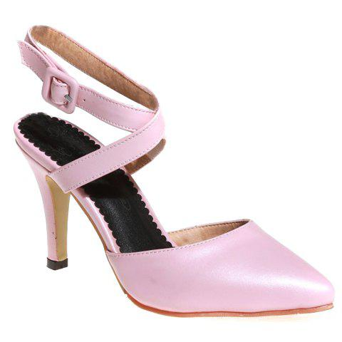 Fashionable PU Leather and Cross Straps Design Women's Sandals - PINK 39