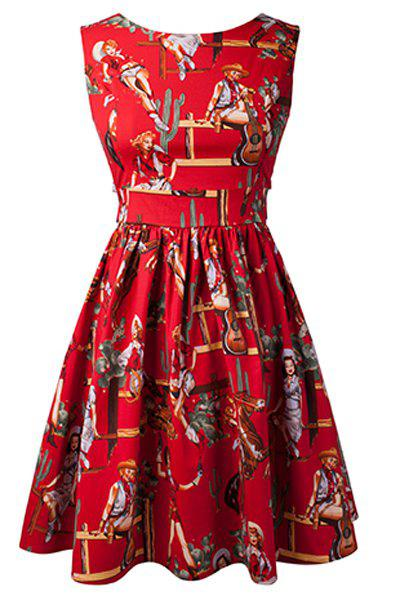 Vintage Printed Sleeveless High Waist Pleated Dress For Women - RED XS