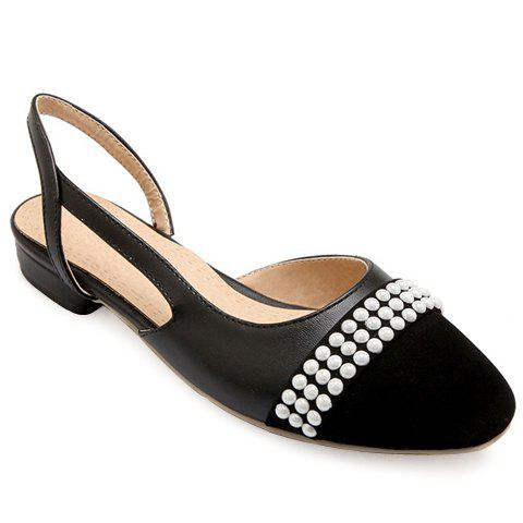 Fashionable Black Color and Square Toe Design Women's Flat Shoes - BLACK 38
