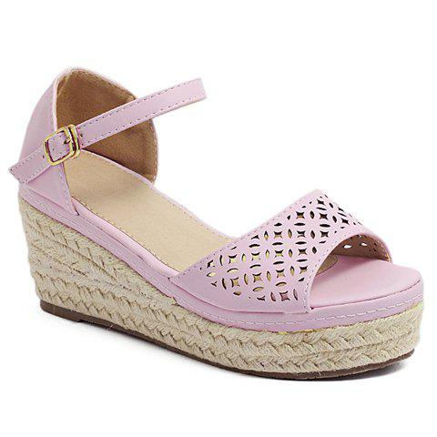 Elegant Hollow Out and Weaving Design Women's Sandals - PINK 39
