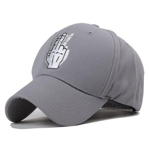 Trendy Gesture Embroidery Solid Color Baseball Hat For Women - GRAY