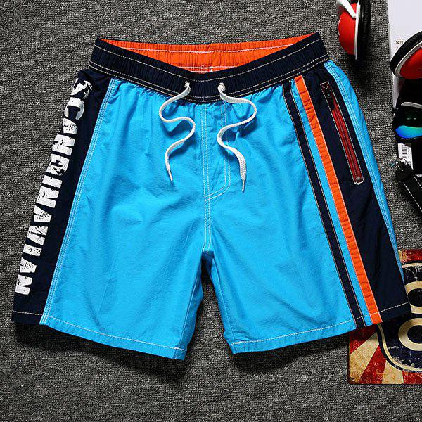 Color Block Splicing Letter Print Lace-Up Straight Leg Pocket Men's Shorts - LAKE BLUE XL