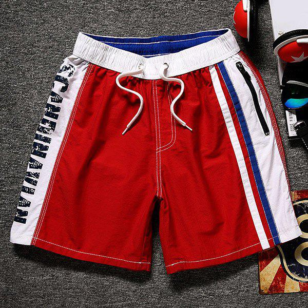 Color Block Splicing Letter Print Lace-Up Straight Leg Pocket Men's Shorts - RED L