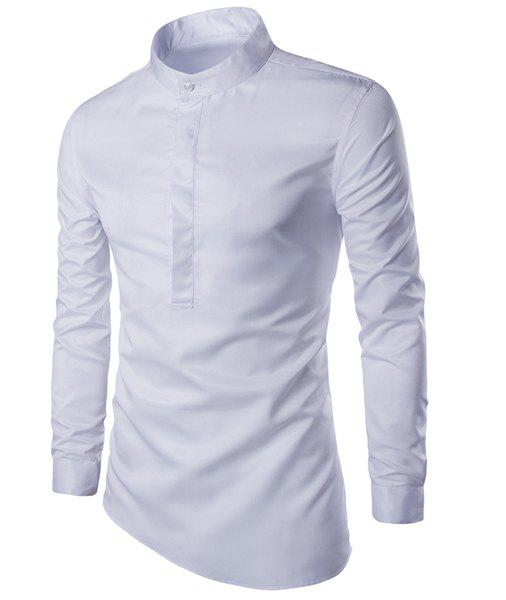 Trendy Stand Collar Solid Color Irregular Hem Long Sleeve Men's Shirt - WHITE M