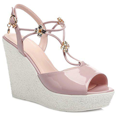 Graceful Peep Toe and Wedge Heel Design Women's Sandals - PINK 39