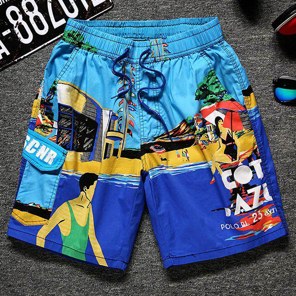 Color Block Cartoon Print Lace-Up Straight Leg Pocket Men's Shorts - LIGHT BLUE 3XL